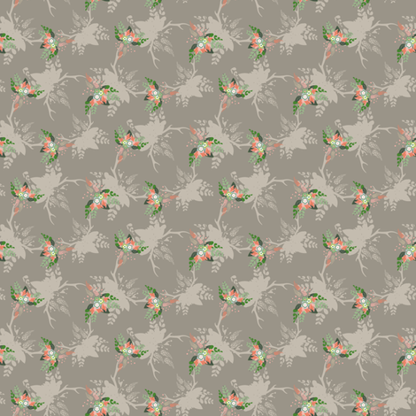 Rustic Floral Bouquet Deer Antlers Fall Leaf Leaves Taupe Peach_Miss Chiff Designs fabric by misschiffdesigns on Spoonflower - custom fabric