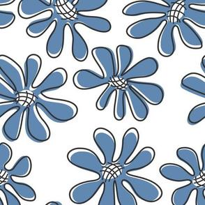 Gerberas in Old Blue - Big Florals in Old Blue