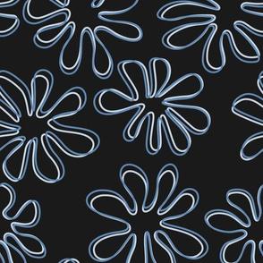 Gerberas in Old Blue - Big Floral Outlines