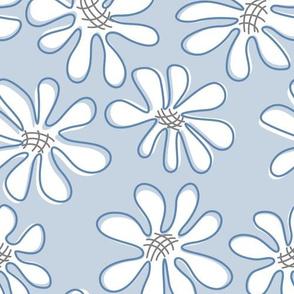 Gerberas in Old Blue - Big Florals in White