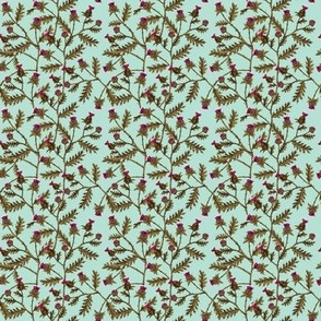 Thistles on Seafoam Blue Green, Mini