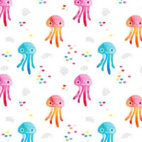watercolor under water ocean life jelly fish and coral squid colorful girls