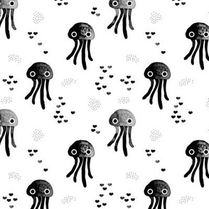 watercolor under water ocean life jelly fish and coral squid black and white