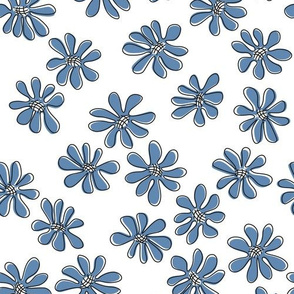 Gerberas in Old Blue - Small Florals in Old Blue