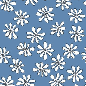 Gerberas in Old Blue - Small Florals in White