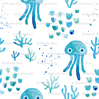 watercolor under water ocean life jelly fish and coral squid blue white