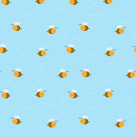 Kawaii Buzzy Bumble Bees fabric by marcelinesmith on Spoonflower - custom fabric