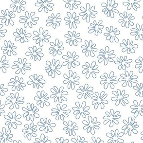 Gerberas in Old Blue - Tiny Floral Outlines in Old Blue