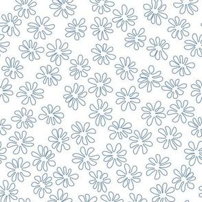 Gerberas in Old Blue - Tiny Floral Outlines in Old Blue