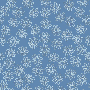 Gerberas in Old Blue - Tiny Floral Outlines in White