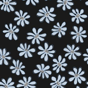 Gerberas in Old Blue - Small Florals in Light Blue