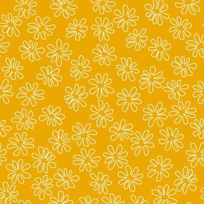 Gerberas in Old Yellow - Tiny Floral Outlines in White