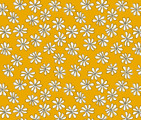Gerberas in Old Yellow - Small Florals in White fabric by sharks_and_bunnies on Spoonflower - custom fabric