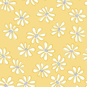Gerberas in Old Yellow - Small Florals in White