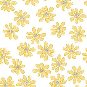 Gerberas in Old Yellow - Small Florals in Light Yellow