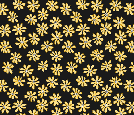 Gerberas in Old Yellow - Small Florals in Light Yellow fabric by sharks_and_bunnies on Spoonflower - custom fabric