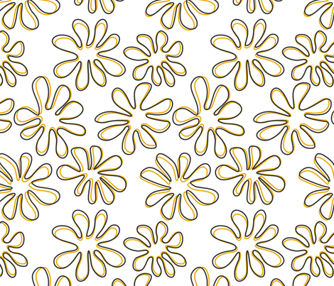 Gerberas in Old Yellow - Big Floral Outlines fabric by sharks_and_bunnies on Spoonflower - custom fabric