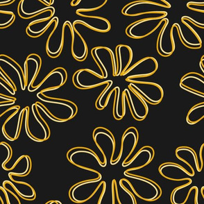 Gerberas in Old Yellow - Big Floral Outlines