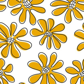 Gerberas in Old Yellow- Big Florals in Old Yellow