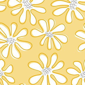 Gerberas in Old Yellow - Big Florals in White
