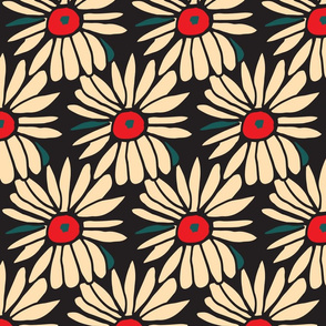 red and black daisy