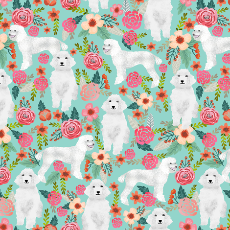 poodle mint cute florals vintage floral standard poodle fabric cute poodle fabric white poodle design sweet poodles fabric by petfriendly on Spoonflower - custom fabric