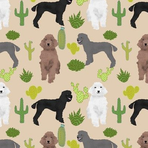 poodles cactus tan cute neutral fabric for dog lovers dog owners cactus cacti trendy fabric poodles poodle design cute poodle fabrics
