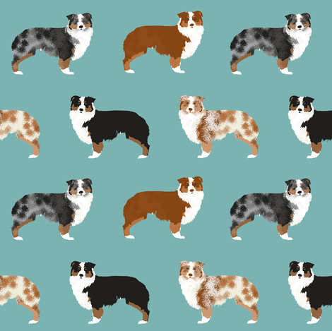 australian shepherds dogs cute blue merle dog red merle aussie dog fabrics cute fabric design fabric by petfriendly on Spoonflower - custom fabric