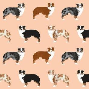 australian shepherd dogs peach fabric cute peach blush dogs red merle blue merle cute dog fabrics dog breed fabric