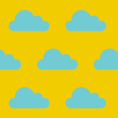 yellow cloud blue fabric by stephaniecroydon on Spoonflower - custom fabric