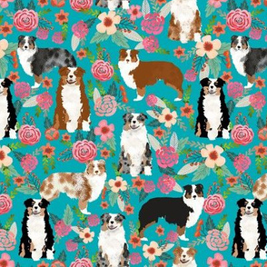 australian shepherd dogs floral cute aussie dog vintage flowers fabric turquoise dog fabric cute aussie dog gift