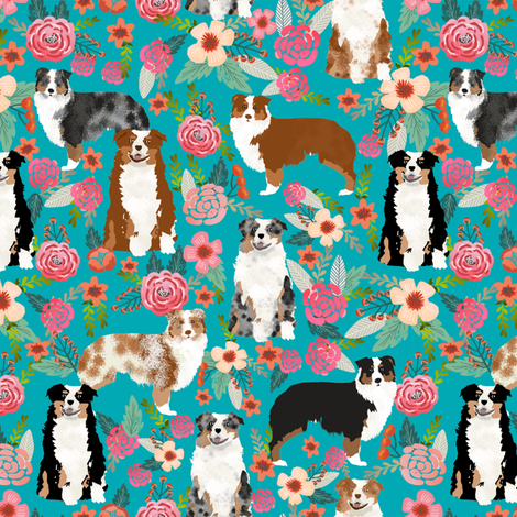 australian shepherd dogs floral cute aussie dog vintage flowers fabric turquoise dog fabric cute aussie dog gift fabric by petfriendly on Spoonflower - custom fabric
