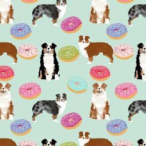aussie dogs donuts cute mint fabric best doughnuts fabric cute australian shepherd fabric