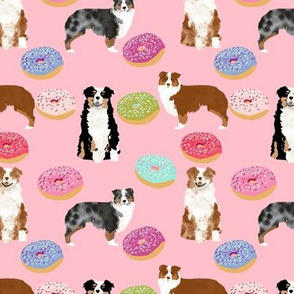 australian shepherds pink dog fabric cute donuts  fabric sweets pink  aussie dog cute dog design dog patterns cute