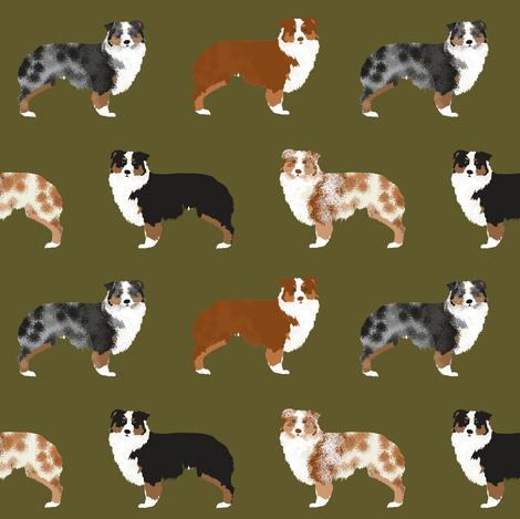 aussie dog cute australian shepherd dogs cute dog fabric red merle blue merle aussies black and tan aussie dog cute dog design fabric by petfriendly on Spoonflower - custom fabric