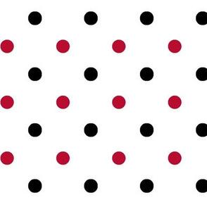 Red and black team color Polka dot white