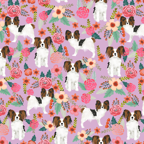 papillon florals cute dog design sweet florals vintage floral dogs toy spaniels toy breeds cute florals dogs design fabric by petfriendly on Spoonflower - custom fabric