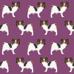 papillon dog toy spaniel dog fabric cute purple dog fabric purple papillons cute dog design