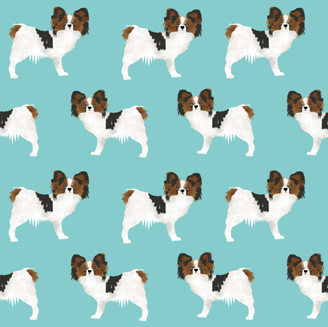papillon dogs cute toy spaniel dog fabric cute aqua blue design sweet papillons gifts  fabric by petfriendly on Spoonflower - custom fabric