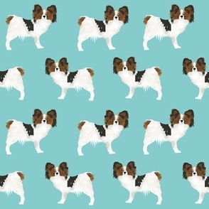papillon dogs cute toy spaniel dog fabric cute aqua blue design sweet papillons gifts