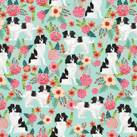 japanese chin dog japanese spaniel cute florals les fleurs fabric mint dog fabric with flowers cute dog design japanese lap dog toy breed fabric fabric by petfriendly on Spoonflower - custom fabric
