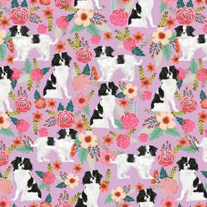 japanese chin florals dog fabric cute japanese chin dog fabric japanese spaniel toy breed lap dog fabric cute purple les fleurs fabric