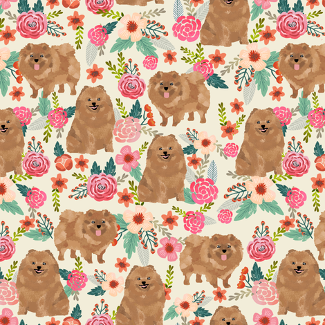 pomeranian cute pom dog cute pom pom dog design sweet pom dogs fabric florals pom fabric fabric by petfriendly on Spoonflower - custom fabric