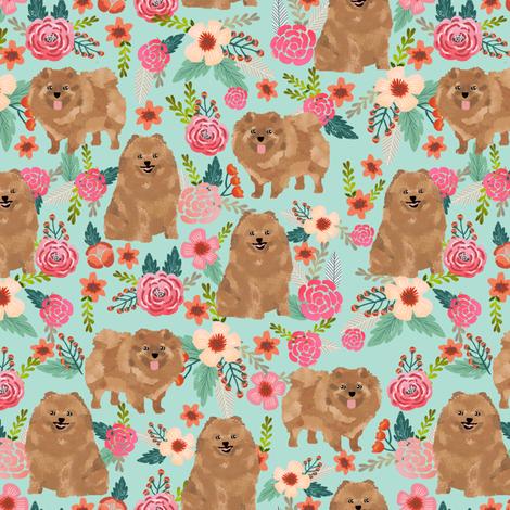 pomeranians cute pom dog fabric pom poms fabric sweet pom dog florals les fleurs fabric sweet pom dog fabric fabric by petfriendly on Spoonflower - custom fabric