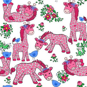 Giraffe_Pink Bow_Blue_Cartoon_Girl_Baby