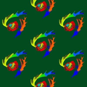 Phoenix Feathers and Fire Eggs on Dark Forest Green