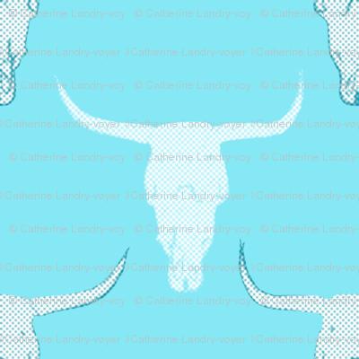 aqua cow skull