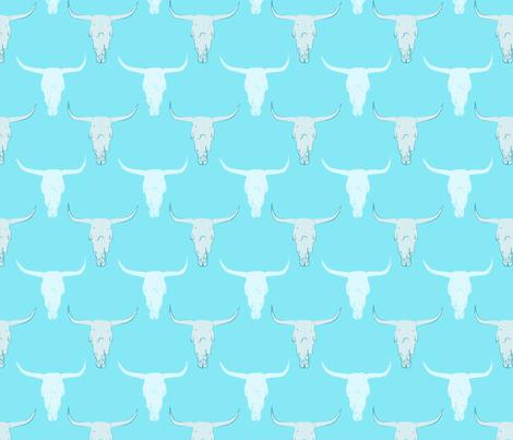 aqua cow skull fabric by mustache_n_lullabies on Spoonflower - custom fabric