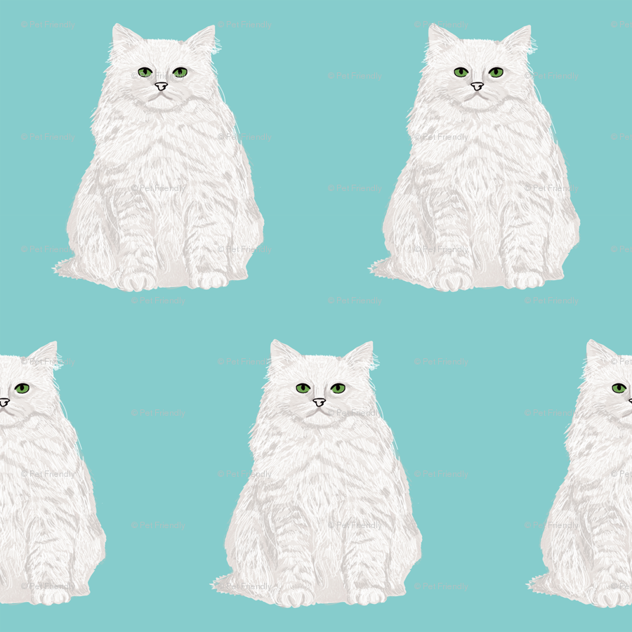 White Cat Fabric With Blue Mint Background Cute White Cat Fabric Cat Lady Design Cat Lady Fabric Sweet Cats Cute Cat Design