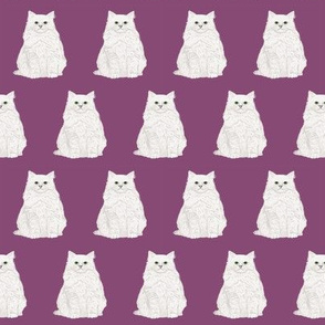 white cat fabric purple cats fabric cute white fluffy cat fabric sweet cat design adorable cats cute cat lady fabric